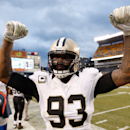 PITTSBURGH, PA - NOVEMBER 30:  Junior Galette #93 of the New Orleans Saints celebrates a 35-32 win over the Pittsburgh Steelers at Heinz Field on November 30, 2014 in Pittsburgh, Pennsylvania.  (Photo by Gregory Shamus/Getty Images)