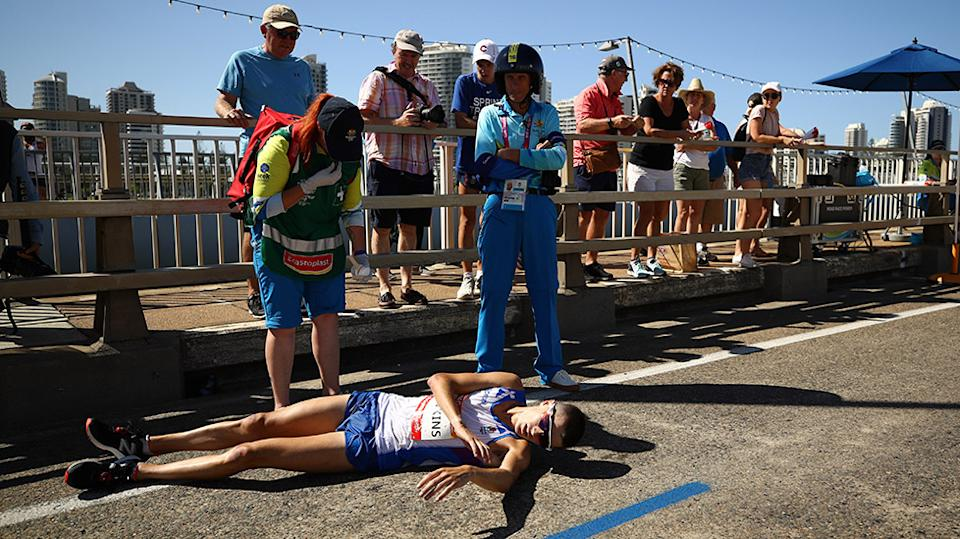 Callum Hawkins was in first place when he collapsed. Source Getty