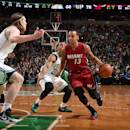 BOSTON, MA - MARCH 25: Shabazz Napier #13 of the Miami Heat drives to the basket against the Boston Celtics on March 25, 2015 at TD Garden in Boston, Massachusetts. (Photo by Brian Babineau/NBAE via Getty Images)