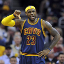 Oct 30, 2014; Cleveland, OH, USA; Cleveland Cavaliers forward LeBron James (23) reacts in the third quarter against the New York Knicks at Quicken Loans Arena. (David Richard-USA TODAY Sports)