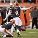 Cleveland Browns kicker Billy Cundiff (8) boots a 39-yard field goal against the Indianapolis Colts in the fourth quarter of an NFL football game Sunday, Dec. 7, 2014, in Cleveland. (AP Photo/David Richard)
