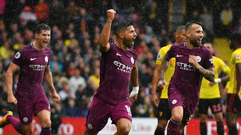 Aguero hat-trick leads City rout of Watford