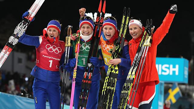 Bjoergen matches all-time medal record with relay gold for Norway