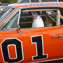 FILE - In this Feb. 1, 2012, file photo, golfer Bubba Watson drives off in the General Lee after playing in the pro-am at the Phoenix Open golf tournament in Scottsdale, Ariz. Bubba Watson says he's painting over the Confederate flag on his car made popular in