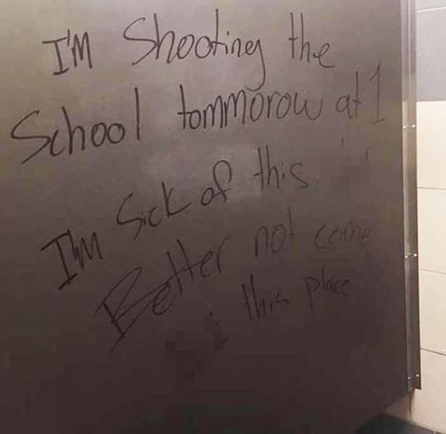 This is the message written on the bathroom wall. Source Instagram