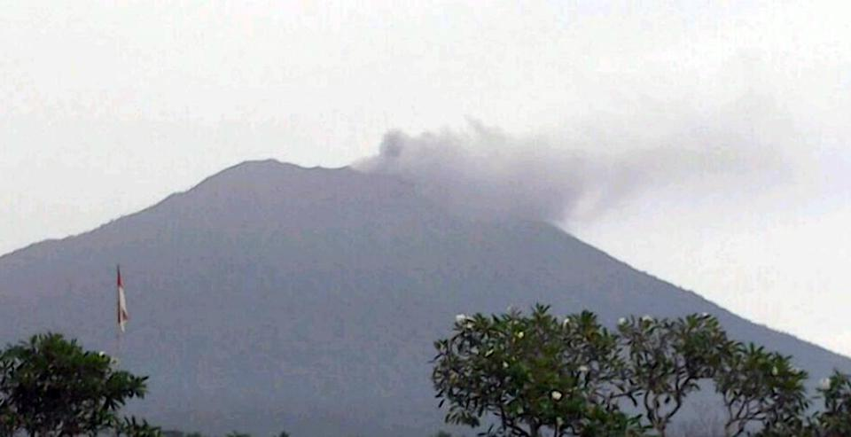 Mount Agung on Bali erupts