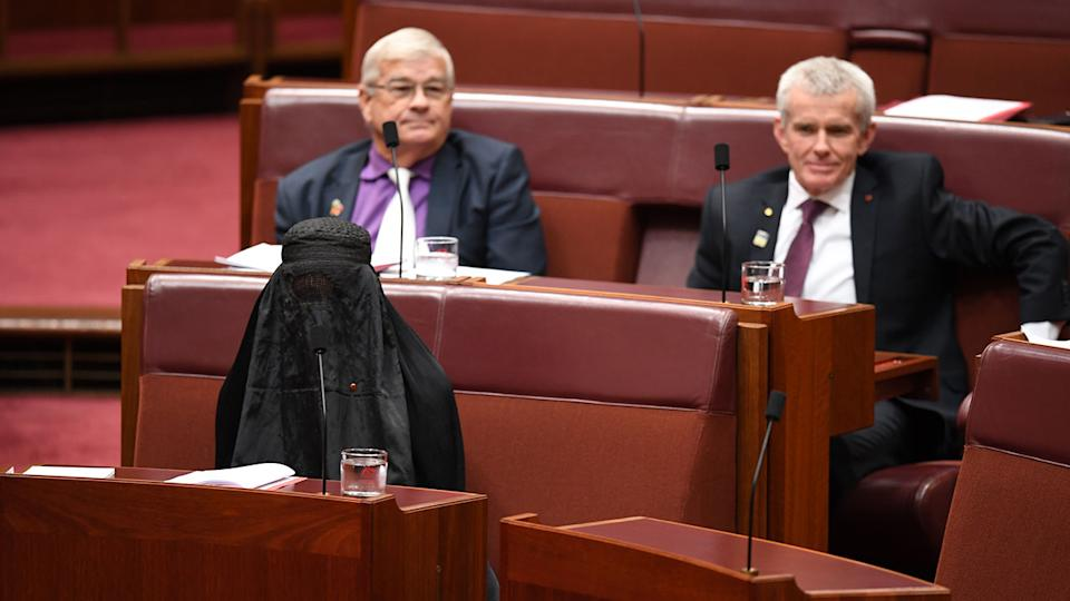 Pauline Hanson is wearing a full burqa in the Senate