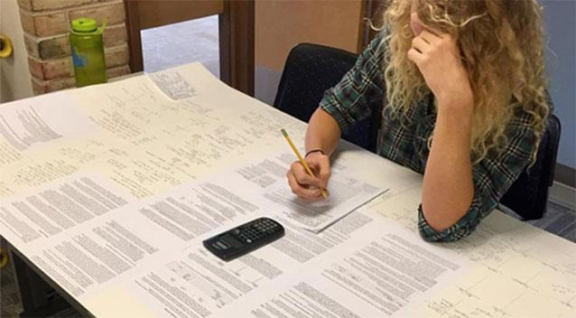 Student outsmarts test guidelines by bringing 3-by-5-foot study card