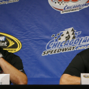 FILE - In this July 12, 2008, file photo, Joe Gibbs, right, owner of Joe Gibbs Racing, and J.D. Gibbs, team president, talk at a press conference at Chicagoland Speedway in Joliet, Ill. Joe Gibbs Racing President J.D. Gibbs is undergoing treatment for