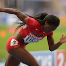 Aug 18, 2013; Moscow, RUSSIA; Jeneba Tarmoh runs the first leg on the United States womens 4 x 100m relay that placed second in 42.75 in the 14th IAAF World Championships in Athletics at Luzhniki Stadium. (Kirby Lee-USA TODAY Sports)