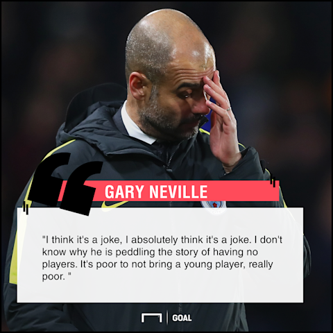 Pep Guardiola six subs joke Gary Neville
