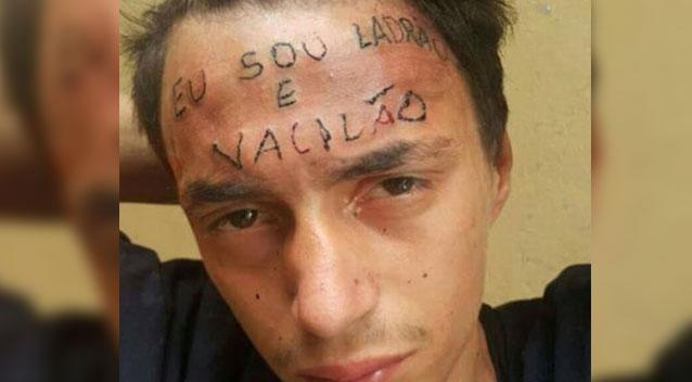 Brazilian tattoo artist brands young thief's forehead to teach him a lesson