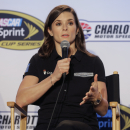 Driver Danica Patrick speaks to the media during the NASCAR Charlotte Motor Speedway media tour in Charlotte, N.C., Tuesday, Jan. 27, 2015. (AP Photo/Chuck Burton)