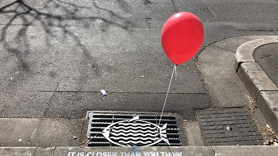 Sydnesiders were finding red balloons tied to grates around the city on Monday. Source Instagram