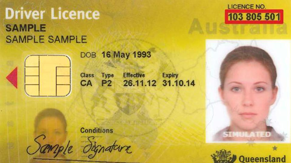 A sample driver's licence without any details on gender or height. Source Qld Government