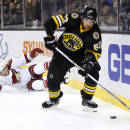 Boston Bruins' Brad Marchand skates away from fallen Arizona Coyotes' Keith Yandle during the second period of an NHL hockey game in Boston Saturday, Feb. 28, 2015. (AP Photo/Winslow Townson)