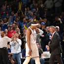 OKLAHOMA CITY, OK- March 4: Russell Westbrook #0 of the Oklahoma City Thunder celebrates during the game against the Philadelphia 76ers on March 4, 2015 at Chesapeake Energy Arena in Oklahoma City, Oklahoma. (Photo by Layne Murdoch/NBAE via Getty Images)
