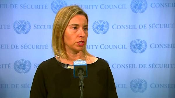 EU's Mogherini says it's crucial to destroy the business model of trafficking organizations