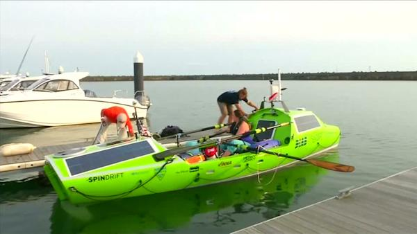 US woman begins a 6,000-mile voyage across the Pacific