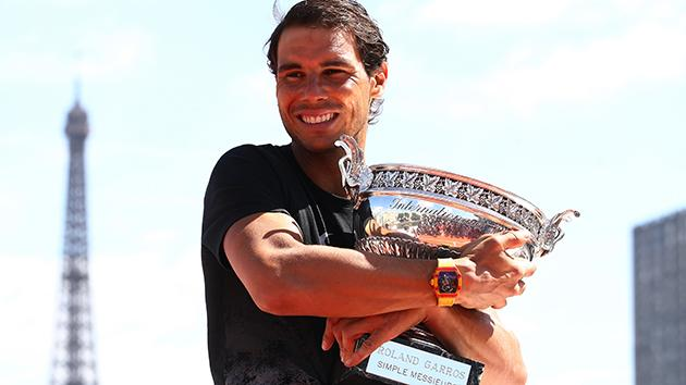 Nadal shows off his new silverware. Image Getty