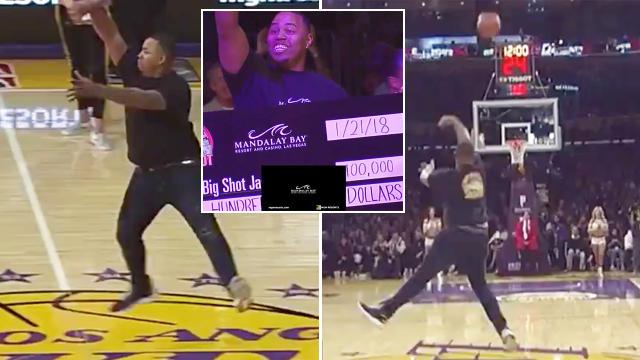 Lakers fan sinks half-court shot