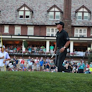 Jul 29, 2016; Springfield, NJ, USA; PGA golfer Phil Mickelson reacts after a putt on the 18th hole during the second round of the 2016 PGA Championship golf tournament at Baltusrol GC - Lower Course. Mandatory Credit: Brian Spurlock-USA TODAY Sports