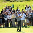 February 20, 2016; Pacific Palisades, CA, USA; Dustin Johnson hits from the eighteenth hole fairway during the third round of the Northern Trust Open golf tournament at Riviera Country Club. Mandatory Credit: Gary A. Vasquez-USA TODAY Sports