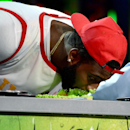 <p>Andre Drummond hasn't had this much pie on his face since the Nickelodeon Kids' Choice Sports Awards. (Kevin Mazur/Getty Images) </p>