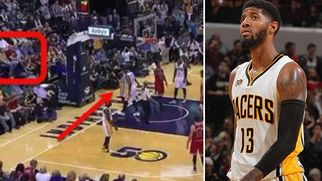 Paul George kicks ball into stands, hits fan in face