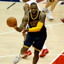 ATLANTA, GA - MAY 20: Forward LeBron James #23 of the Cleveland Cavaliers passes during Game One of the Eastern Conference Finals against the Atlanta Hawks during the NBA Playoffs at Philips Arena on May 20, 2015 in Atlanta, Georgia. (Photo by Mike Zarrilli/Getty Images)