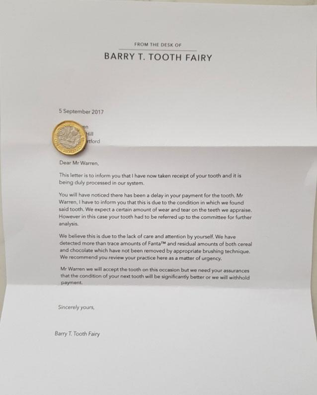 Father shows expert parenting skills with genius tooth fairy note to son