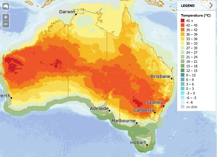 NSW is set to sizzle on Sunday. Source Bureau of Meteorology