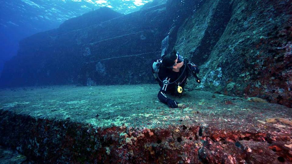 The Yonaguni Ruins are an amazing underwater structure founded in the 80s. Source: Pete McGee/Diveplanit