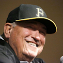 Pittsburgh Pirates manager Clint Hurdle answers questions during a pre-game news conference before the NL Wild Card Playoff baseball game against the San Francisco Giants on Wednesday, Oct. 1, 2014, in Pittsburgh. (AP Photo/Gene J. Puskar)
