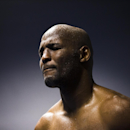 Perspiration collects on Bernard Hopkins during a media workout Tuesday, Oct. 28, 2014, in Philadelphia. Sergey Kovalev, of Russia, will fight Hopkins for his WBA Super World-IBF-WBO light heavyweight titles on Nov. 8, at Boardwalk Hall in Atlantic City, N.J. (AP Photo/Matt Rourke)