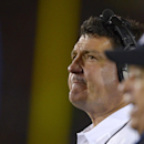 Southern California coach Ed Orgeron watches from the sideline during the second half of an NCAA college football game against UCLA, Saturday, Nov. 30, 2013, in Los Angeles. UCLA won 35-14. (AP Photo/Mark J. Terrill)