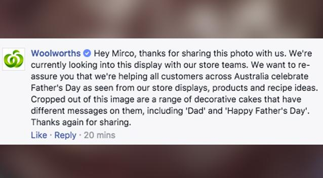 Outrage and confusion over Woolworths' Father's Day cake