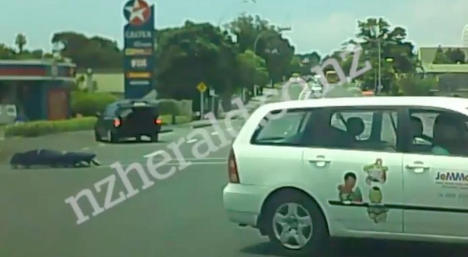 Terrified motorist films a body bag flying out of a hearse