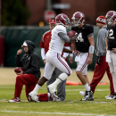Alabama running back T.J. Yeldon (4) returns to drills (after dressing out but not participating Monday) during Alabama football practice, Tuesday, November 25, 2014, at the Thomas-Drew Practice Facility in Tuscaloosa, Ala. (AP Photo/AL.com, Vasha Hunt) MAGS OUT (AP Photo/Alabama Media Group, Vasha Hunt)