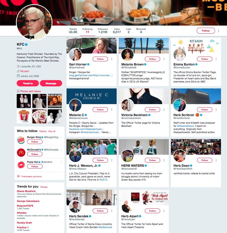 Why KFC only follows 11 people on Twitter