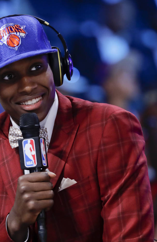 Frank Ntilikina answers questions during an interview after being selected by the New York Knicks as the eighth pick overall during the NBA basketball draft, Thursday, June 22, 2017, in New York. (AP Photo/Frank Franklin II)