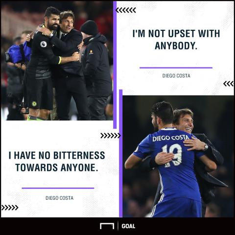 Diego Costa Antonio Conte Chelsea no bitterness