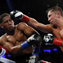 Mar 18, 2017; New York City, NY, USA;   Gennady Golovkin  throws a punch at Daniel Jacobs during middleweight world championship fight at Madison Square Garden. Mandatory Credit: Noah K. Murray-USA TODAY Sports