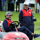 Sep 27, 2016; Chaska, MN, USA; Team USA vice-captain Bubba Watson talks with Phil Mickelson of the United States on the sixth hole during a practice for the 41st Ryder Cup at Hazeltine National Golf Club. Mandatory Credit: Rob Schumacher-USA TODAY Sports