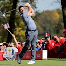 Oct 2, 2016; Chaska, MN, USA;  Rory McIlroy of Northern Ireland plays his shot from the seventh tee during the single matches in 41st Ryder Cup at Hazeltine National Golf Club. Mandatory Credit: Rob Schumacher-USA TODAY Sports  / Reuters