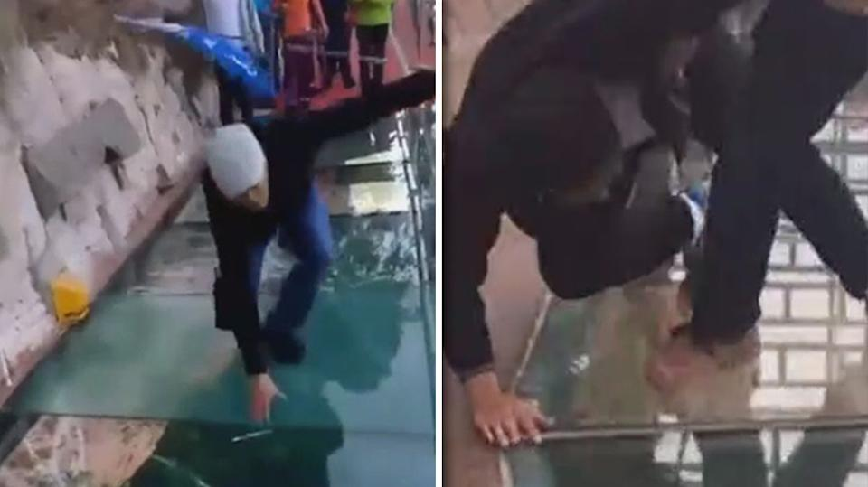 Visitor Panics As Glass Bridge Cracks Under His Weight