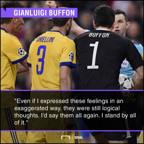 Gianluigi Buffon no regrets over referee rant