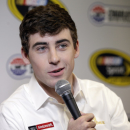 Ryan Blaney speaks to the media during the NASCAR Charlotte Motor Speedway media tour in Charlotte, N.C., Wednesday, Jan. 28, 2015. (AP Photo/Chuck Burton)
