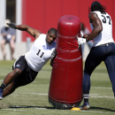 Defensive end Michael Sam, from Missouri, moves around a pylon during the NFL Super Regional Combine football workout, Sunday, March 22, 2015 in Tempe, Ariz. (AP Photo/Rick Scuteri)