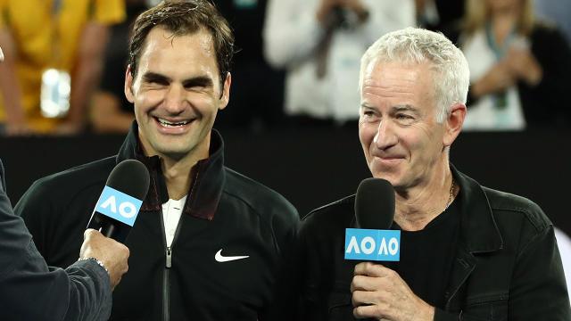 Federer and McEnroe. Image Getty